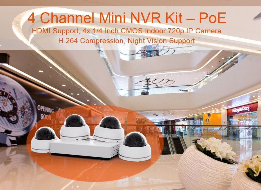 4 channel mini nvr cctv kit with poe hdmi support 4x indoor 720p ip cameras