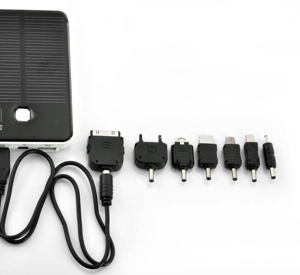5000mah solar charger and battery with dual charging ports for ipod iphone ipad samsung htc sony ericsson