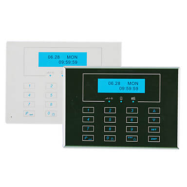 gsm smart home alarm system with 15 wireless zones and icon lcd display