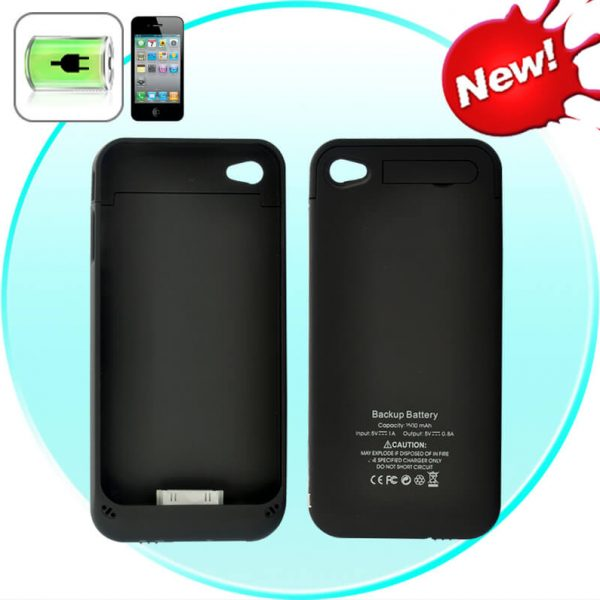 slim iphone battery case for iphone 4.4s 1500mah black