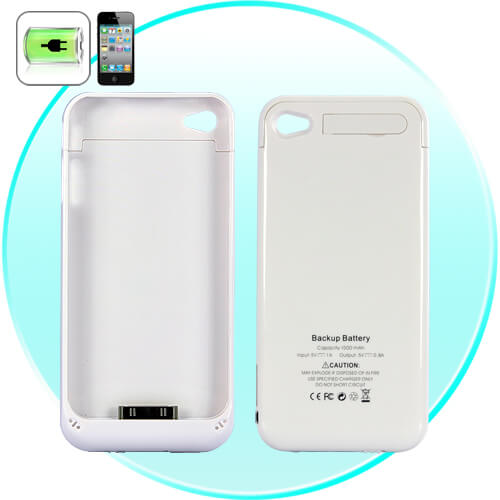 slim iphone battery case for iphone 4 4s 1500mah white