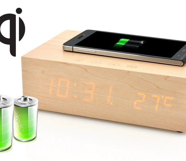 wireless qi charging wooden led clock with bluetooth