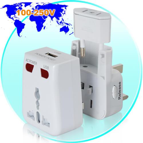 world travel adapter with usb charging port cvmh k72