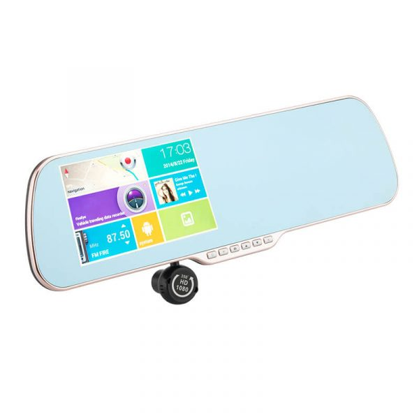 android rearview mirror with 5 inch capacitive toushscreen gps navigation reversing camera