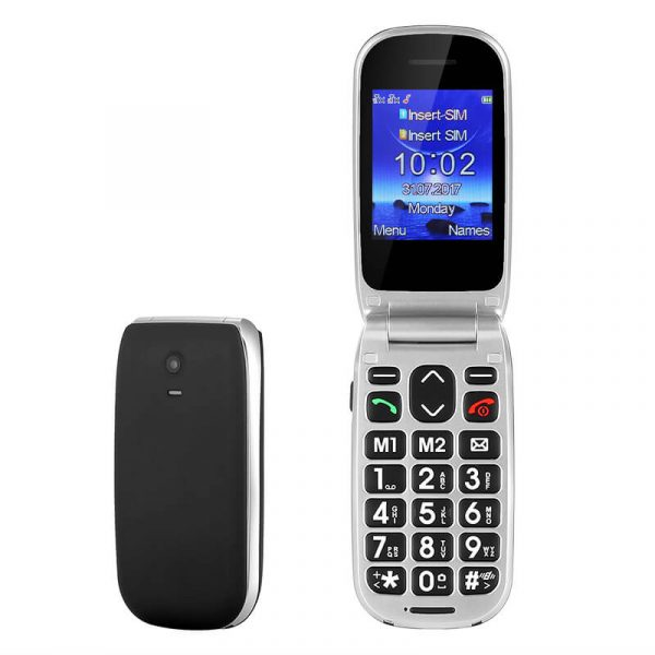 senior phone enjoy w72 large sos button calls messages fm radio alarm 2.2 inch lcd display 800mah big buttons