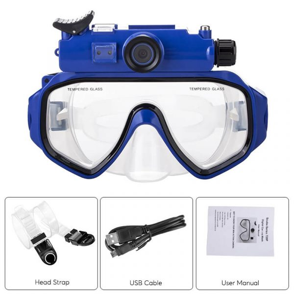 sports camera swim goggles ip68 waterproof 90 degree lens 12.5 inch cmos 5mp pictures 720p hd video sd card support