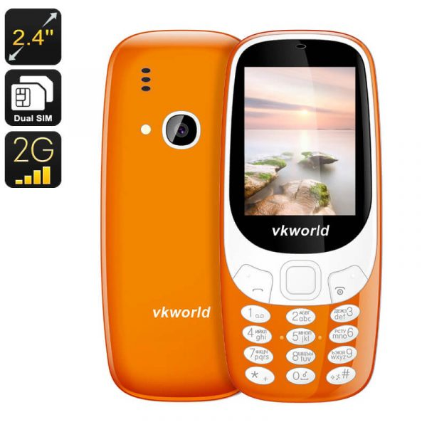 vkworld z3310 cell phone 1450mah 2.4 inch display 2mp camera number pad bluetooth dual imei orange