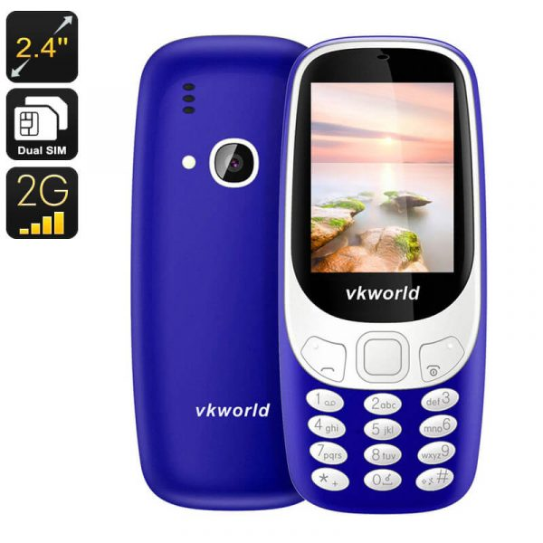 vkworld z3310 cell phone 2.4 inch display number pad bluetooth dual imei 2mp camera 1450mah