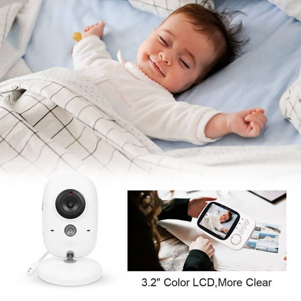 wireless baby monitor 3.2 inch display temperature monitor dual way audio 2.4ghz wireless play songs 5m night vision