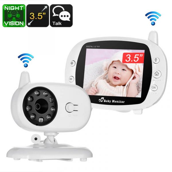 wireless baby monitor 3.5 inch display temperature monitoring two way audio 3m night vision ir cut 2.4ghz play songs