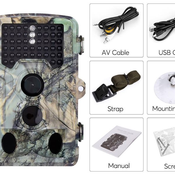 1080p trail camera 2.31 inch display 1080p video 16mp picture pir sensor 20m night vision 110 degree lens waterproof