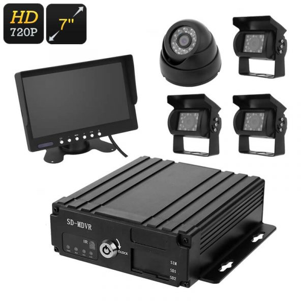 4 channel car dvr 4x hd camera 7 inch display