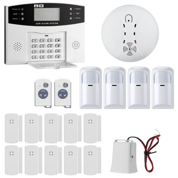 home security system 2.5 inch display 4x pir motion detection smoke detector 10x window sensor sms call alarm