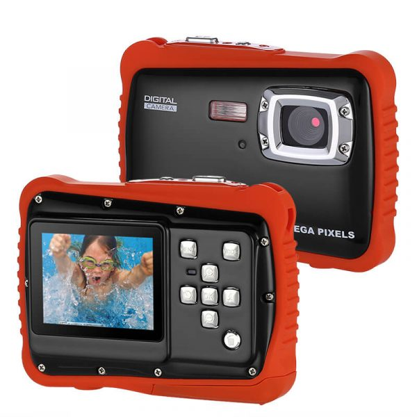 powpro kfun pp j52 underwater camera ip68 waterproof hd video 5mp picture 2 inch screen 32gb sd card black