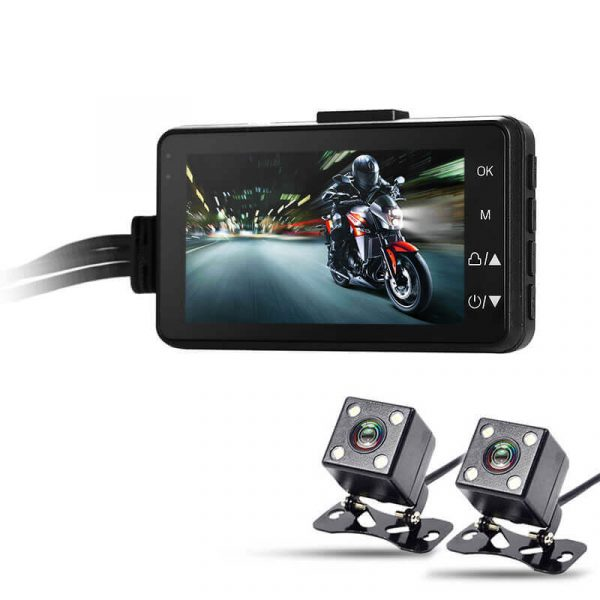 dual camera motorcycle dvr full hd 120 degree lens 3 inch display time stamp ip67 cameras sd card support