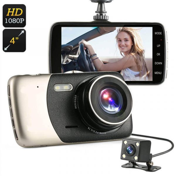 full hd 1080p car dvr 4 inch screen g sensor 140 degree lens rear parking camera