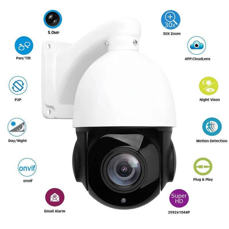 ptz dome camera 20x optical zoom 60 meters night vision 13 inch 5mp cmos support p2p onvif compliance ip66