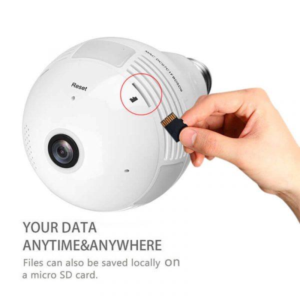 led light bulb security camera 360 degree fisheye motion detection